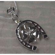 Подвеска-шарм серебряная «Подкова с клевером»